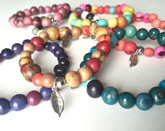 Wanderlust Acai Bracelet, Acai Jewelry, Acai Beads, Organic, Eco Friendly, Stainless Steel, Boho Bracelet, Mala, Arm Candy, Stackable, Gypsy