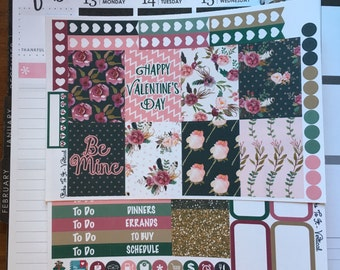 Enchanted Garden Valentine's Day Mini Weekly Set ECLP Horz & Vert Planner Stickers Erin Condren Mambi Inkwell Press Filofax KikkiK Happy