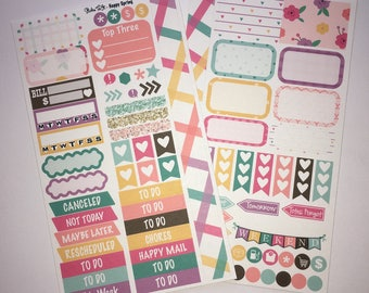Happy Spring MM Stickers Louis Vuitton Mambi Inkwell Press Filofax Kikki K Happy Life Planner LV pink glitter floral