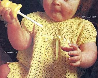 PDF Instant Download   Baby Girls Primrose Crochet Dress with Ribbon Slot trim Pattern     (41)