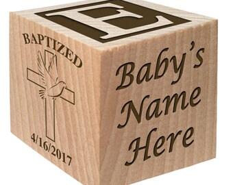 Baptism Present - Christening Block -Gift From Godparents -Christening Gift- Custom Engraved wooden baby blocks for newborn girl newborn boy