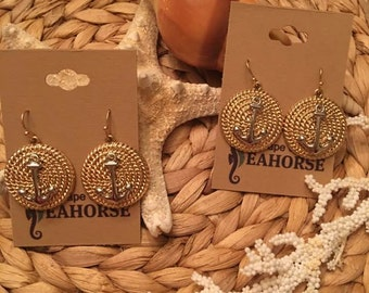 Two Tone Metal Anchor Earrings,Nautical,Coastal,Sea,Ocean,Jewelry