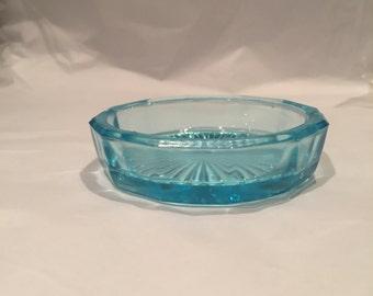 Vintage Turquoise Glass Salt dish / Trinket Tray / Ring Holder