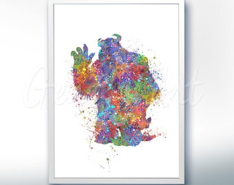 Disney Pixar Monsters Inc Sully Watercolor Poster Print - Watercolor Painting - Watercolor Art - Kids Decor- Nursery Decor [2]