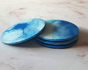 Abstract Art Coasters in Light Blue and Dark Blue