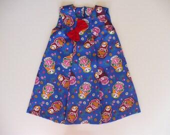 GIRLS BABUSHKA DRESS, party dress, holiday dress, special occasion, babushka, pleat, colourful, summer, girl, kids clothes, handmade