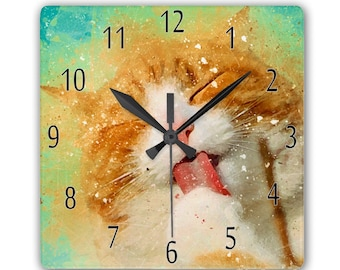 Cat Clock, Watercolor Grunge And Splatter,  Smooth Glass Square Clock - 180mm by 180mm in diameter