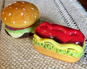 Hamburger Hot dog Salt and Pepper Shakers