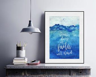 Oceans Hillsong United, Lyrics, Christian Song Lyrics, Spiritual Art, Christian Print