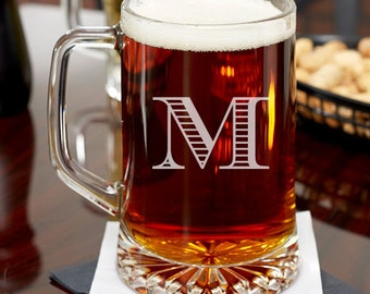 Mod Initial Personalized 15 oz Beer Mug - Holiday Gifts -Housewarming Gifts (JM6460764-16-53331)