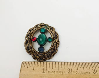 Vintage Pendant With Colored Stones/Colored Stones Pendant/Vintage Pendant/Large Pendant/Medieval Style Necklace