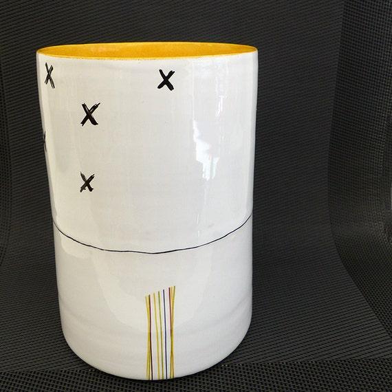 vase ceramic hand-painted - graphic yellow