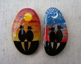 Stone Magnets-Miniature OOAK-hand painted stones-black cats-Romantic cats-collectible magnets-Gift for Cat Lovers