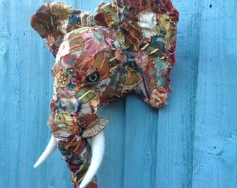 Faux Taxidermy Patchwork Animal Trophy Head