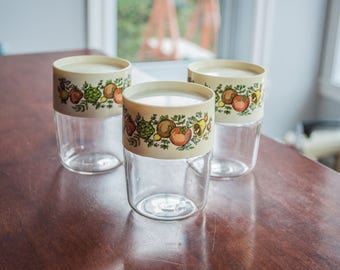 Vintage Pyrex Store and See Canister - Set in Spice Retro Kitchen Storage Canisters - Corning Ware Spice of Life