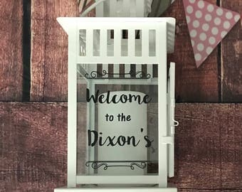 Personalised 'Welcome to the...' block candle lantern