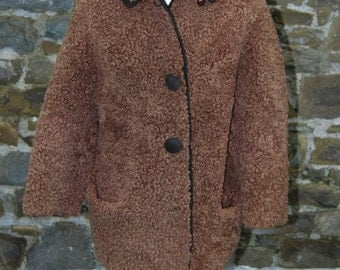 1960s vintage Teddy bear wool coat with suede trim