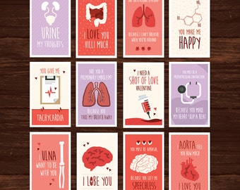 Funny Nurse Valentine's Day Card Full Set Download - 12 Printable Cards -  Great for doctors, med students, nurses, hospitals