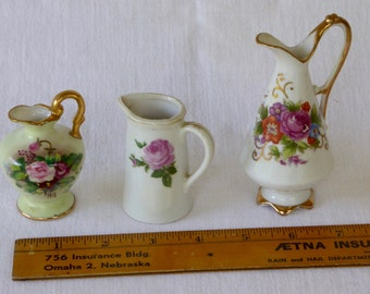 Vintage Grouping of Three Made in Japan Miniature Porcelain Pitchers