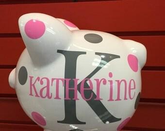Piggy Bank-Children's Personalized Piggy Bank-large ceramic piggy bank- Monogrammed Piggy Bank- Children's Custom Piggy Bank-Girls-Vinyl