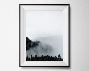 Forest Print, Nature Print, Forest Art, Photography Print, Forest Photography, Nature Photography, Foggy Forest, Instant Download, Printable