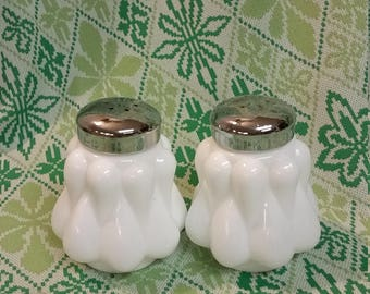 Milk Glass Salt and Pepper Shakers