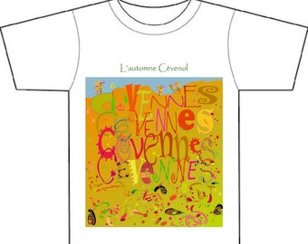 French,abstract & typographical landscape,tee-shirt,gift for him or her,original mixed media adapted for printing