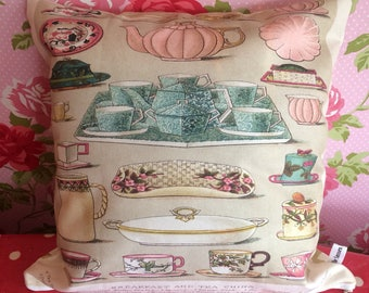 Vintage Afternoon Tea pillow - Tea Time, Teapots and tea cups cushion - gold zig zag back - Mother's Day gift