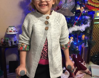 Handmade knitted sweater/jacket  size 7/8 girls