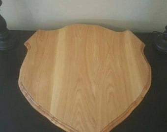 Large Solid Hickory Shield Shaped Plaque