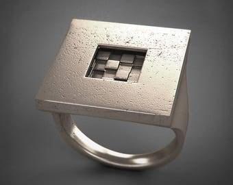 Square Ring - Introverso - acciaio/argento/titanio