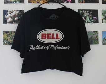 Vintage Cropped Black Logo Tee