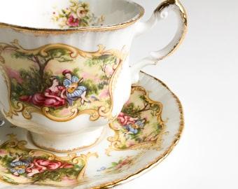 Paragon tea cup, Paragon cup, Paragon Chippendale, Fine bone China teacup, Vintage teacup, English teacup, Teacup and saucer