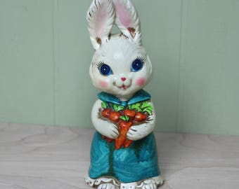 Vintage Bunny Rabbit Figurine - Dayglow Paint Made in Japan