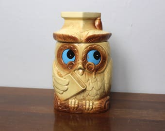 Vintage Ceramic Wise Graduation Owl Cookie Jar