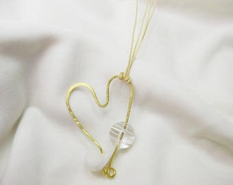 Handmade long heart necklace with bronze and synthetic stone