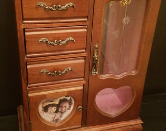 Vintage jewelry armoire etsy for Juno vintage modern jewelry armoire