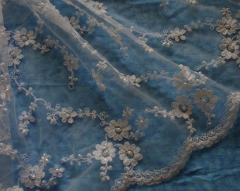 "Off White All over Beaded Daisy Bridal Fabric, Special Occasion Lace -52"" wide-Sold by the yard"