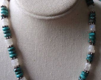 Turquoise, Sterling & MOP Necklace and Earring Set