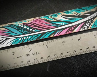 Leather cuff painted feather