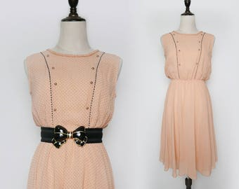 Pink Vintage Women Dress Black Polka Dot 1980s Sleeveless Size M