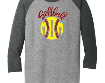 Softball Mom Glitter Raglan 3/4 sleeve tee