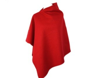 "Fine wool poncho ""Red"" by marengu"