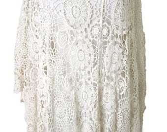 STUNNING lace crochet cream cotton poncho - one size regular UK 10-16 NEW