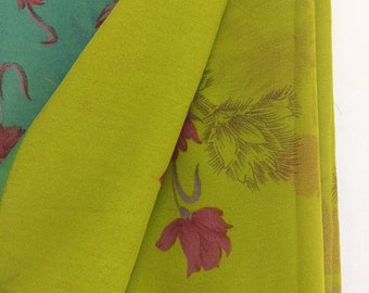Free Shipping Vintage Floral Design Printed Georgette Fabric Curtain Drape Indian Saree VKEA124