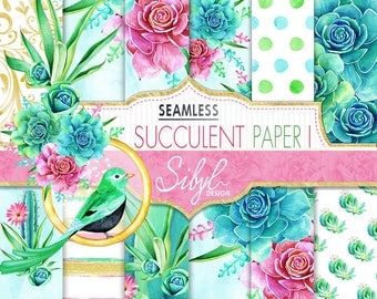 60% OFF SALE Digital Floral Paper, Watercolor Succulent Paper Pack I, Seamless Cactus Plant, Botanical Greenery, Desert Cacti, Aloe Vera