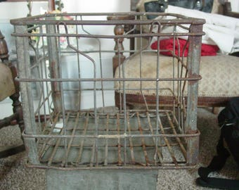 Vintage Farmbest Galvanized Metal Dairy Milk Crate