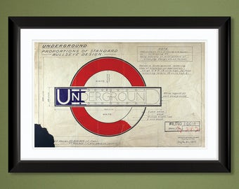 "London Underground Logo Design ""Roundel"" (1925) by Edward Johnston 18x12 Heavyweight Art Print"