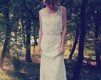 Boho chic lace wedding dress, boho chic bridal gown, lace dress floor length, vintage bridal gown, lace gown, ivory lace dress, silk dress
