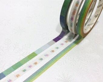 3 rolls rainbow washi tape 7M x 5mm gradient Checkered colorful pattern masking tape sticker tape thin tape slim tape set scrapbook gift